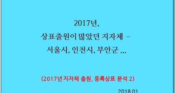 2017년, 상표출원이 많았던 지자체 – 서울시, 인천시, 부안군 …